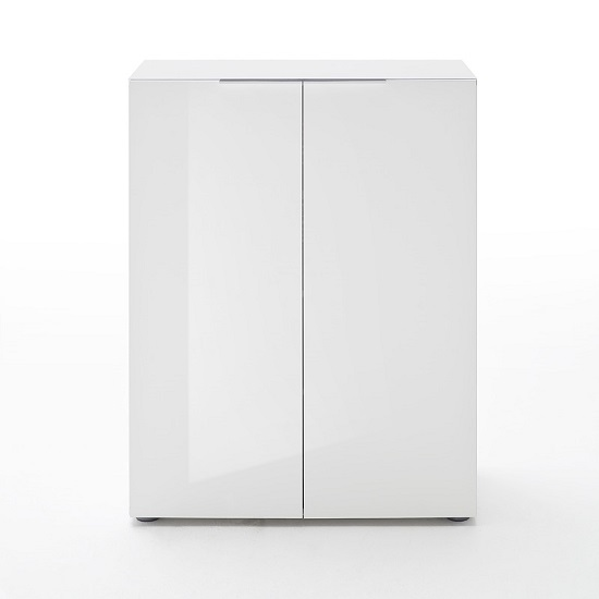 Genie Modern Shoe Cabinet In White High Gloss With 2 Doors_1