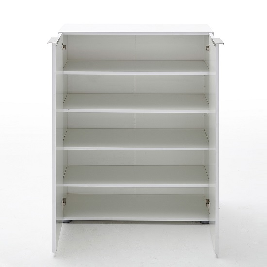 genie modern shoe cabinet in white high gloss with 2 doors