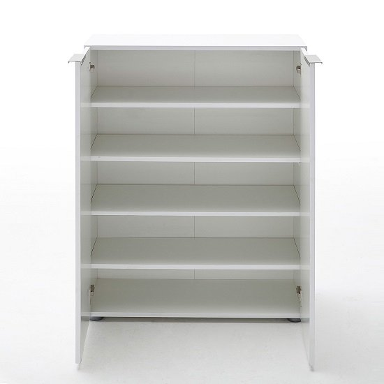 Genie Modern Shoe Cabinet In White High Gloss With 2 Doors_3