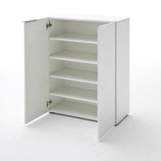 Genie Modern Shoe Cabinet In White High Gloss With 2 Doors_2