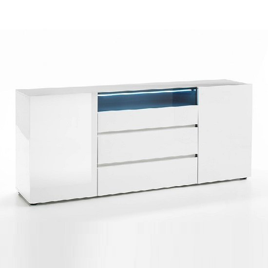 Genie Sideboard In High Gloss White With LED Lighting