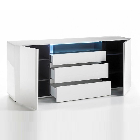 Genie Sideboard In High Gloss White With LED Lighting_2