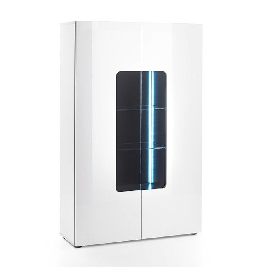 genie wide display cabinet in white high gloss with led lighting