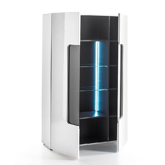 Genie Wide Display Cabinet In White High Gloss With LED Lighting_2