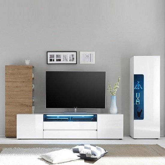 Genie Wide TV Stand In High Gloss White With LED Lighting_4