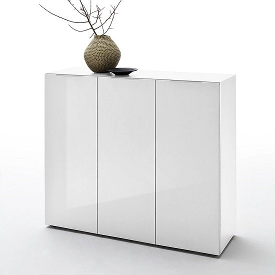 Genie Wide Shoe Cabinet In White High Gloss With 3 Doors_1