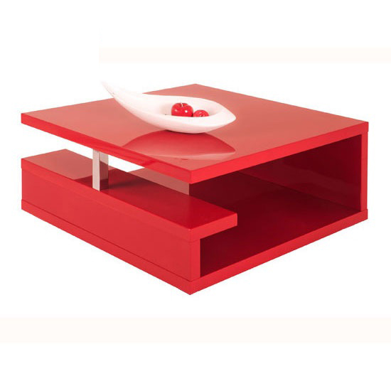 White High Gloss Side End Square 2 Seats Of Coffee Table: Geno Square Coffee Table In High Gloss Red