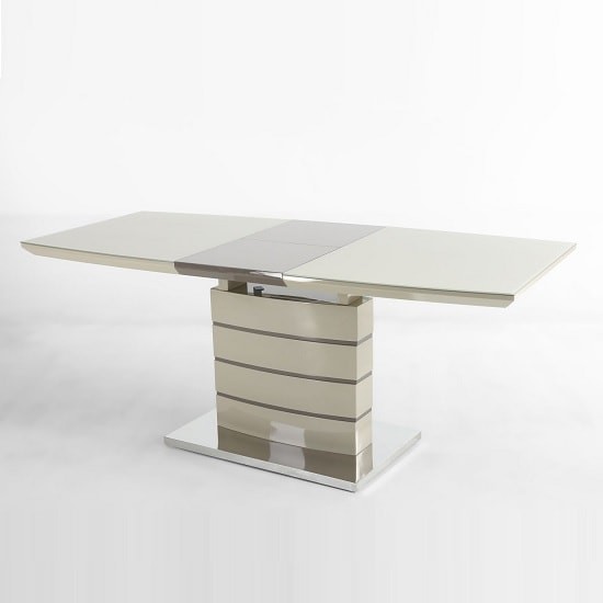 Genoa Dining Table In Champagne High Gloss And Glass Extension