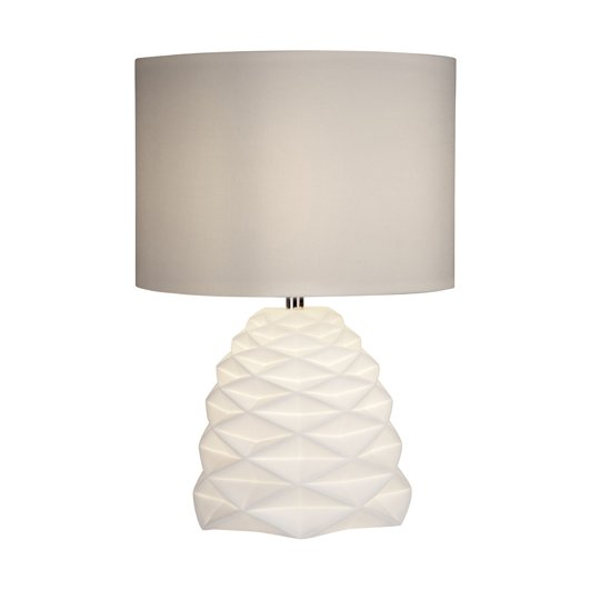 Geometric 2 Lights Table Lamp In White Ceramic