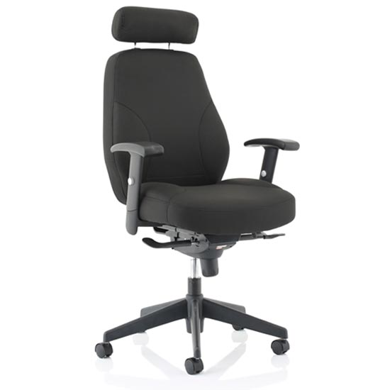 Georgia Fabric Executive Office Chair In Black With Arms