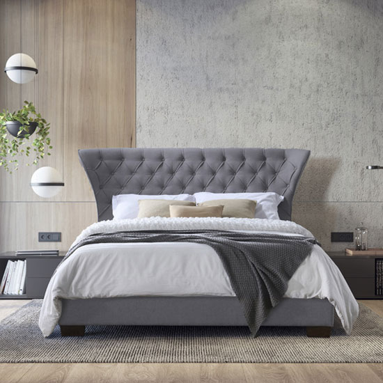 Georgia Fabric Super King Size Bed In Grey