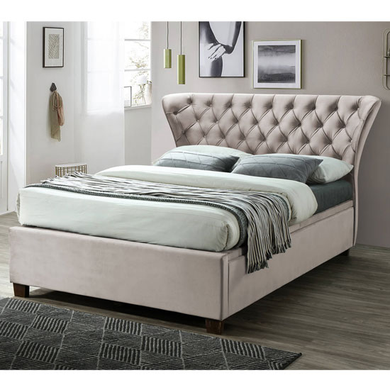 Georgia Ottoman Fabric Double Bed In Champagne