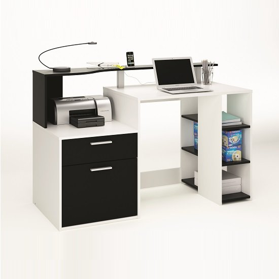 Georgia Wooden Computer Desk In White And Black With 1 Door