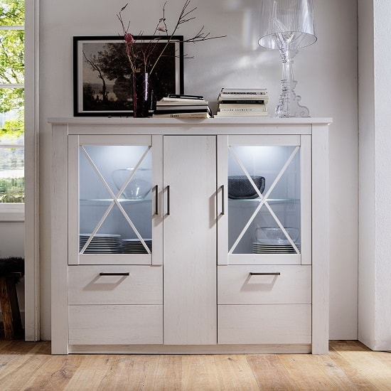View Gerald wooden highboard in white pine with 5 doors with led