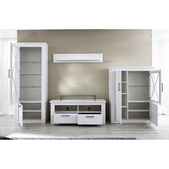 Gerald Living Room Furniture Set In White Pine With LED_2