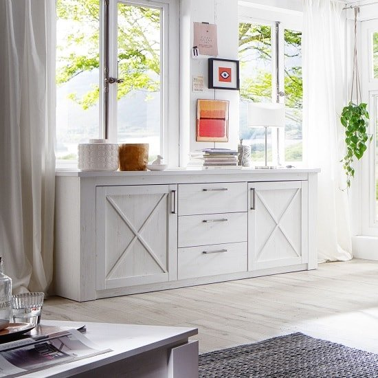Gerald Wooden Sideboard In White Pine With 2 Doors
