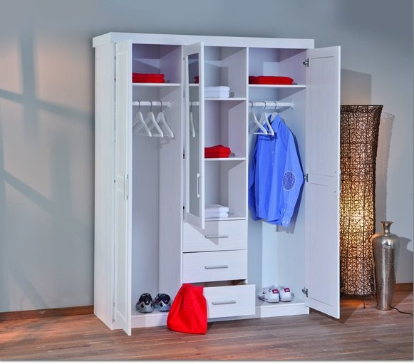 Geraldo White Pine Finish Wardrobe With Mirror Door