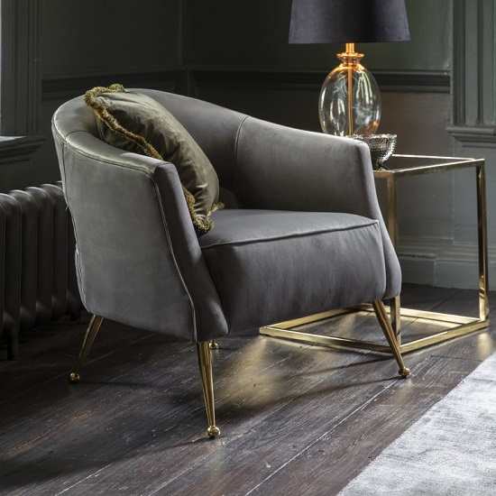 Gerania Velvel Arm Chair In Grey With Gold Metal Legs