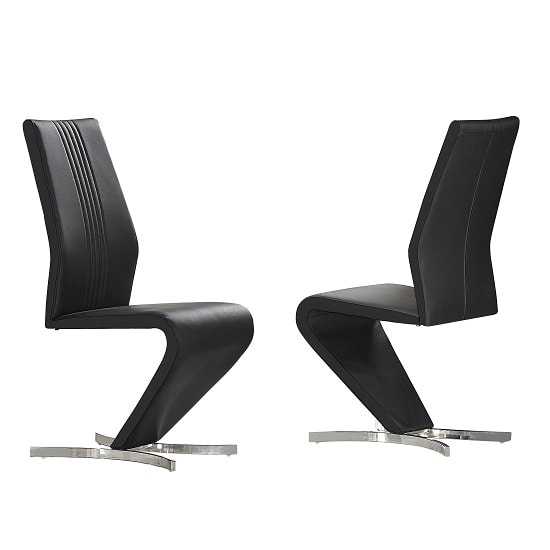 Gia Dining Chairs In Black Faux Leather In A Pair