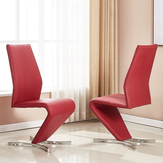 Gia Dining Chair In Bordeaux Faux Leather In A Pair