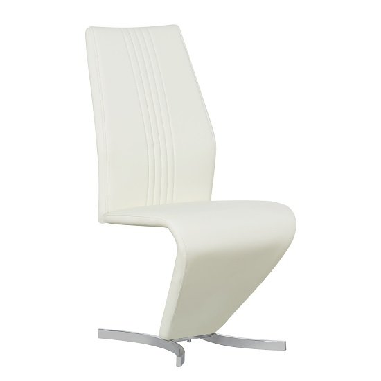 Gia Dining Chair In Cream Faux Leather With Chrome Base