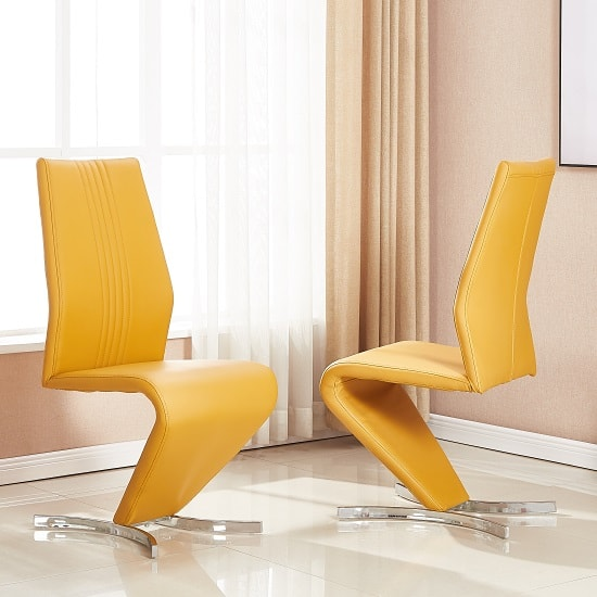 Gia Dining Chair In Curry Faux Leather In A Pair_1