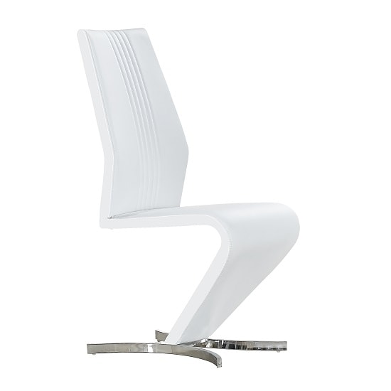 Gia Dining Chair In White Faux Leather With Chrome Base