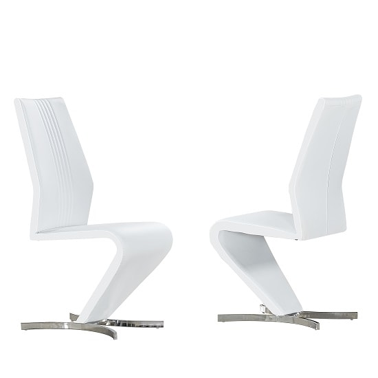 Gia Dining Chairs In White Faux Leather In A Pair