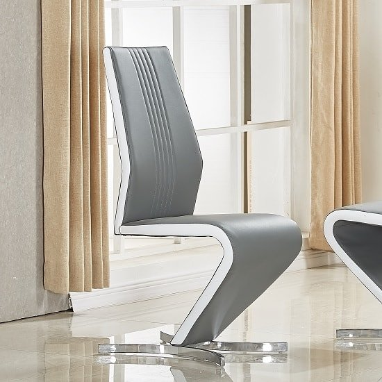 Gia Dining Chair In Grey And White Faux Leather With Chrome Base