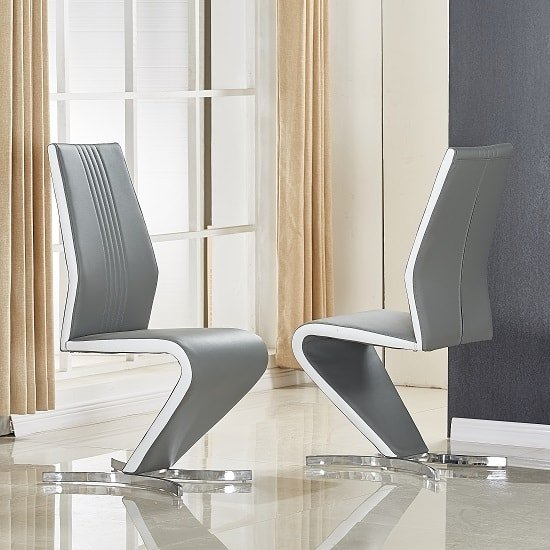 Gia Dining Chair In Grey And White Faux Leather In A Pair