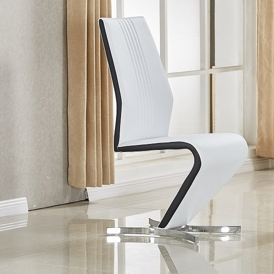 Gia Dining Chair In White Black Faux Leather With Chrome Base