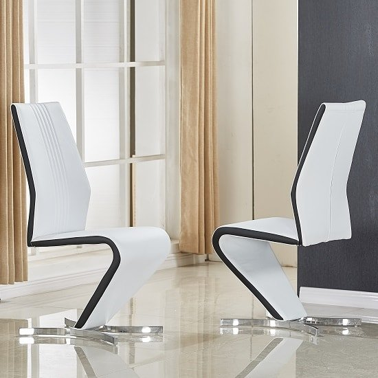 View Gia dining chair in white and black faux leather in a pair