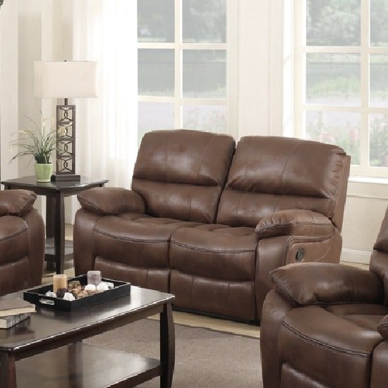 Giana Recliner 2 Seater Sofa In Chocolate Faux Leather