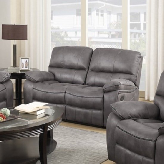 Giana Recliner 2 Seater Sofa In Grey Faux Leather
