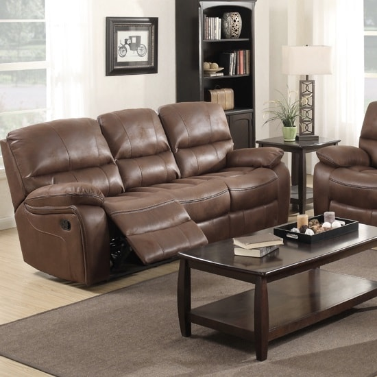 Giana Recliner 3 Seater Sofa In Chocolate Faux Leather