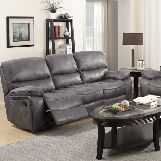 Giana Recliner 3 Seater Sofa In Grey Faux Leather