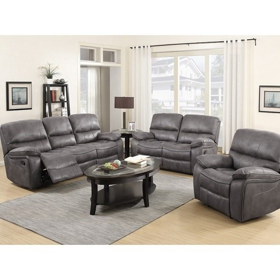 Giana Modern Recliner Sofa Suite In Grey Faux Leather