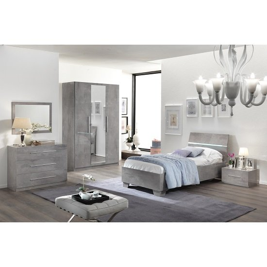 Gianna Bedside Cabinet In Grey Marble Effect Gloss_2