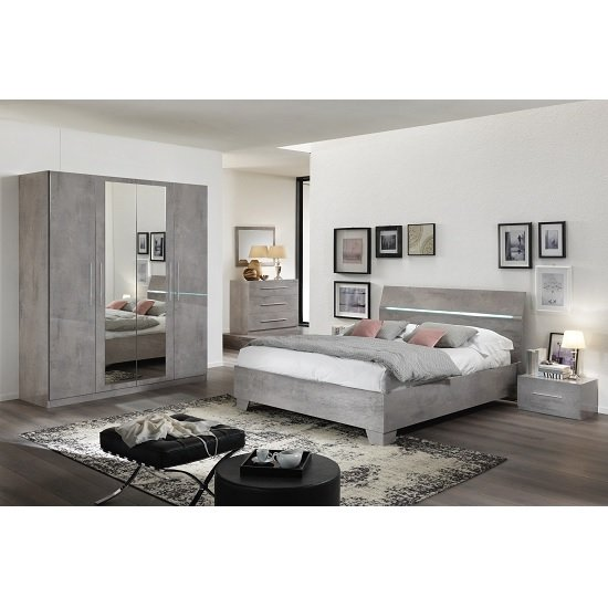 Gianna Modern Double Bed In Grey Marble Effect Gloss_2
