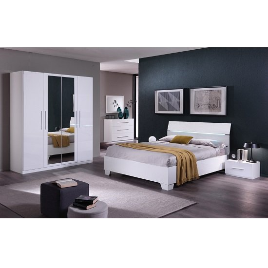 Gianna Modern Double Bed In White Gloss_2
