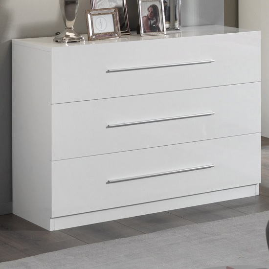 Gianna Chest Of Drawers In White Gloss With 3 Drawers
