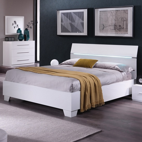 Gianna Modern Double Bed In White Gloss_1