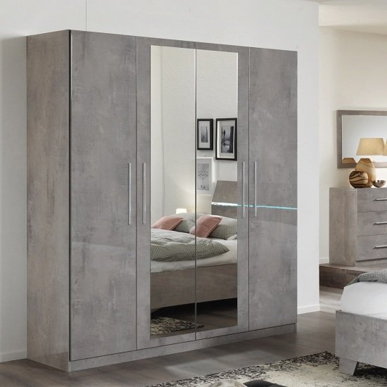 Gianna Mirrored Wardrobe Large In Grey Marble Effect Gloss