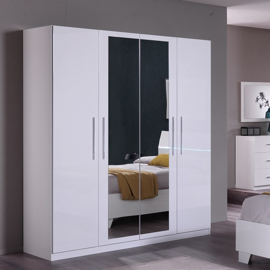 Gianna Mirrored Wardrobe Large In White Gloss With 4 Doors