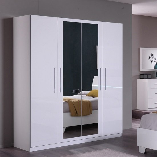 Gianna Mirrored Wardrobe Large In White Gloss With 4 Doors_1