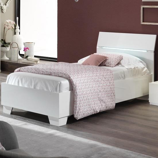 Gianna Modern Single Bed In White Gloss