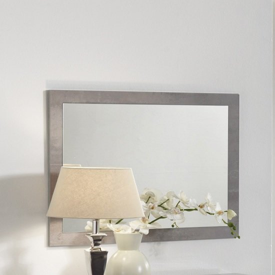 Gianna Wall Mirror Rectangular In Grey Marble Effect Gloss