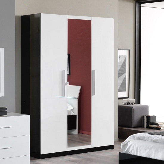 Gianna Mirrored Wardrobe In Black And White Gloss And 3 Doors