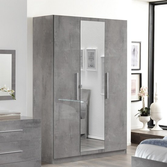 Gianna Mirrored Wardrobe In Grey Marble Effect Gloss And 3 Doors