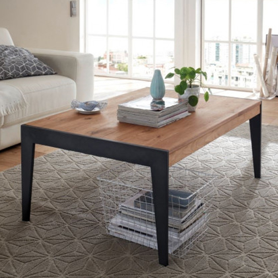 Gibraltar Wooden Coffee Table In Knotty Oak